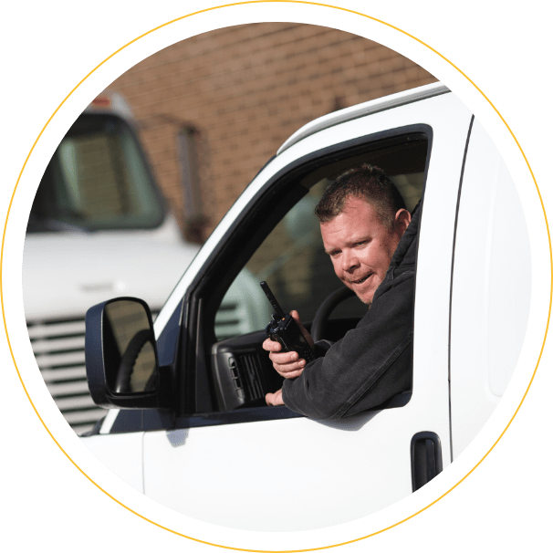 man with two-way radio